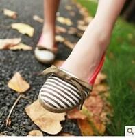 2014 color block stripe bow decoration vintage princess shoes round toe doll women's shoes women's shoes