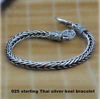 Wholesale Genuine 100% Real Pure 925 Sterling Silver Men bracelet .dragon bone Men jewelry .free shipping fine jewelry HYB2