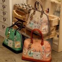 Philosophy women's handbag portable color block print women's handbag 2-illust women's vintage handbag art bag