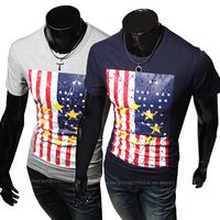 2014 new fashion Slim Slim American flag t-shirt printing/t-shirt men,Free Shipping