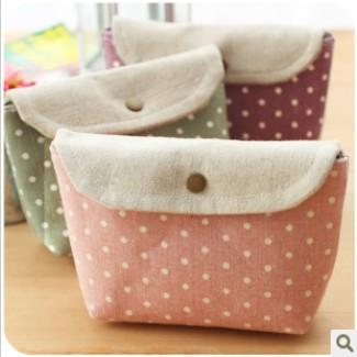 Min. order is $15 (mix order) 2325 zakka multifunctional cosmetic bag polka dot storage bag(China (Mainland))
