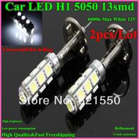 Bottom Price&Hot Selling 2pc/lot Car H1 H3 5050 13smd LED 6000k-Max White Fog Parking Headlight Lamp Bulb 12V Fast Freeshipping