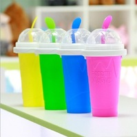 Free shipping 2014 newest Creative Sand ice cup  ice cream cup DIY homemade smoothies 4colors  330ml Squeeze smoothie cup