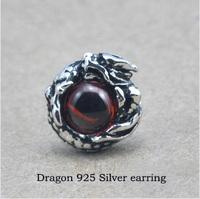 Wholesale Genuine 100% Real Pure 925 Sterling Silver Men earrings.dragon eye Men jewelry .free shipping fine jewelry HYE2