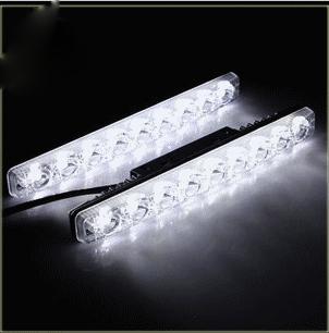 2pcs 12V 9w 6 LED Universal Car Light DRL SMALL FISH FORK Daytime Running Head Lamp Super White 100% waterproof(China (Mainland))