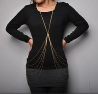 Free shipping more than $15+gift fashion Rihanna sexy body chain cross tassel long more chain women jewelry beach light hot new