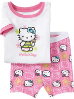 2014 New Arrival! Spring and Summer Child clothes short sleeve leisure wear hello kitty T-shirt suit Preferential promotion