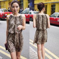 free shipping 6055 women sexy spaghetti strap gradient short racerback leopard dress