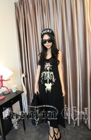 European and American style exaggerated skull skeleton rose flower bomb vest dress retro dress