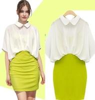 free shipping 1821  faux two piece hip slim one-piece dress fashion peter pan color block chiffon