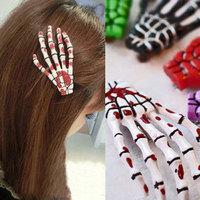 10PCS/Lot  Fashion Skeleton Claws Skull Hand Hair Clip  Zombie Punk Horror Hair Barrettes J016