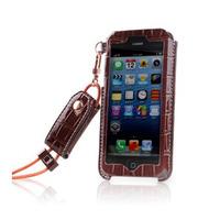 Leather Case for iPhone 5 5s 5c Holder Neck Strap Lanyard KASHIDUN crocodile pattern Bags Shell PU free shipping