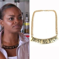 "Min Order $10(Can Mix Item)Statement ""Trust No Bitch"" Gold Chunky Letter Chain Choker Necklace Punk Boho"