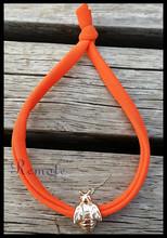 Orange cord gold Honey bee charm Elastic Lycra Wrap Around Stretch Bracelet hair band stacked bracelets
