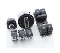 OEM Brushed Auto Headlight switch+Side mirror switch+Master window switch for VW CC Tiguan Passat B6 Golf Jetta MK5 MK6