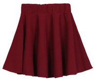 Korean Style Skirt 2014 Solid Color Skater Mini Skirts Pleated Short Skirt  Q303