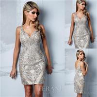 Hot Selling Designer Sheath V Neck Beading Sequins Cocktail Dresses 2014 Evening Short Dress For Women