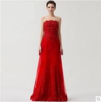 Luxury quality new arrival 2014 RED wedding dress a tube top wedding dress formal dress