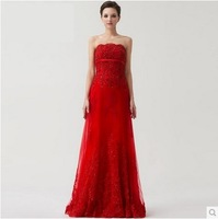 Luxury quality new arrival 2014 RED wedding dress a tube top wedding dress formal dress