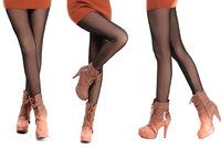 Women Fashion Sexy False Transparent Flesh-colored Warm Pants Winter Thick Velvet Leggings 9007