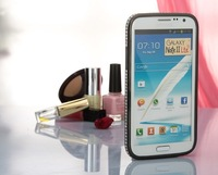 MOQ:1pcs,Luxury Diamond Bumper For Galaxy Note 2 3 With Metal+PC material Newest Hybrid Rhinestone Cover ,Free shipping