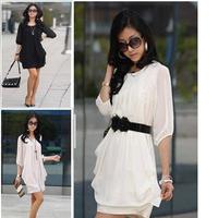 New arrival 4xl plus size women casual dress, slim half sleeve chiffon summer dress 2014 M~4XL XXXXL XXXXXL Dropship