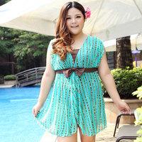 Free shipping new 2014 plussize mm hot spring big size dress female swimsuit big maternity swimwear women one piece summer dress