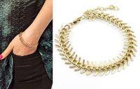 Trendy Fashion Unique Personality Punk Ribs Golden Metal Chain bracelet