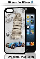 The 3D Building Protective Shell for IPhone 5 5S Eiffel Tower Bridge Windmill Pattern Phone Shell Dynamic, free shipping