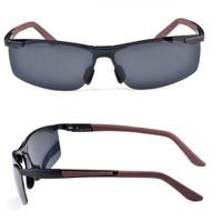 2014 Brand Aluminum-Magnesium Alloy Polarized Sunglasses Men's Sport Running Fishing Golfing Driving Glasses Black Frame