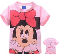free shipping 6pcs/lot 2014 new girls t-shirts cartoon clothes children tshirts kids top tees