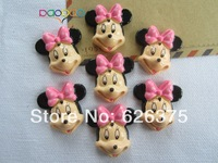 Wholesale Cute New Pink Minnie, Resin flatback cabochons for scrapbooking, hair bow center, all DIY Free Shipping