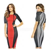 High Quality Elegant Women lady evening Red Panel Body-shaping Colorblock Midi Dress high street novelty dress 2014 5443