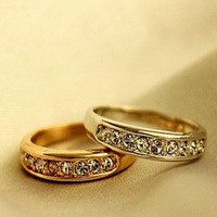 2pcs/lot Korean Crystal Jewelry Women Crystal Rings Silver Ring Simple Gold Rings with Rhinestone RD-J029