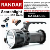 RA-SL6-USB SKY RAY KING  CREE XM-L U2 3 Mode tactical Flashlight power by 1-4*18650 hunting Sharp object Searchlight
