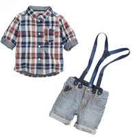 2014 new Baby summer clothing sets boys grid straps suits children suits shirt+short pants 6pcs/1lot free shipping