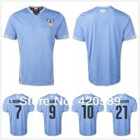 2014 world cup best Thailand quality Uruguay home blue soccer football jersey Uruguay soccer jerseys uniforms