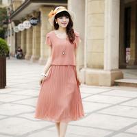 New 2014 plus size brand fashion summer dress short-sleeve casual faux two piece chiffon pleated women dress 43/dsd/10/8011