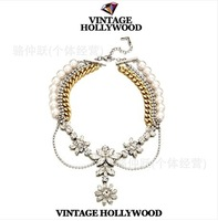Shourk VINTAGE HOLLYWOOD Crystal Pearl Necklaces Chain Women Jewelry
