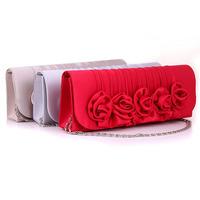 2014 Bride Rose flower handbag fashion women envelope clutch bag wedding bags and evening  bag free shipping-KL-044