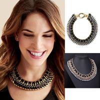 New 2014 Big Exaggerated Imitation Diamond Gold Chain Ribbon Choker Necklaces Women Jewelry