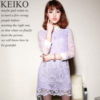 2014 spring gentlewomen diamond peter pan collar elegant wrist-length sleeve lace one-piece dress female