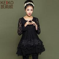 Vestidos Free Shipping Natural Vestido De Festa Party Dresses Dress 2014 Spring A Lace Chiffon Sweep Basic Long-sleeve Female