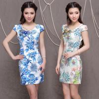 2014 new embroidered cheongsam high quality national trend fashion chinese style cheongsam dress vintage slim cheongsam