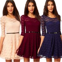 Fashion lace one-piece dress lace shirt slim all-match slim waist one-piece dress skirt