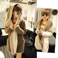 2013 autumn and winter women fleece thermal plush double color block decoration long design cardigan sweatshirt