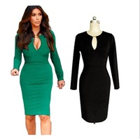 Fashion autumn sexy V-neck metal buckle slim hip slim evening dress long-sleeve dress