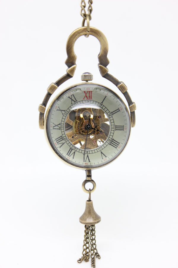 free shipping ball pocket watch necklace , mechanical watch, 30*30mm size. chain : 80cm(China (Mainland))