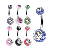 100PCS/lot free shipping double crystal uv acrylic belly ring mixed color navel piercing jewelry