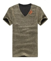 2014 New Natural Linen T Shirts for Man Fashion Relaxed Men's Summer Tees Male Pure color Short Sleeve,5 color,plus sizeXXXXXL